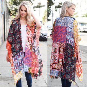 Boho Patchwork Kimono Cover Up Wrap
